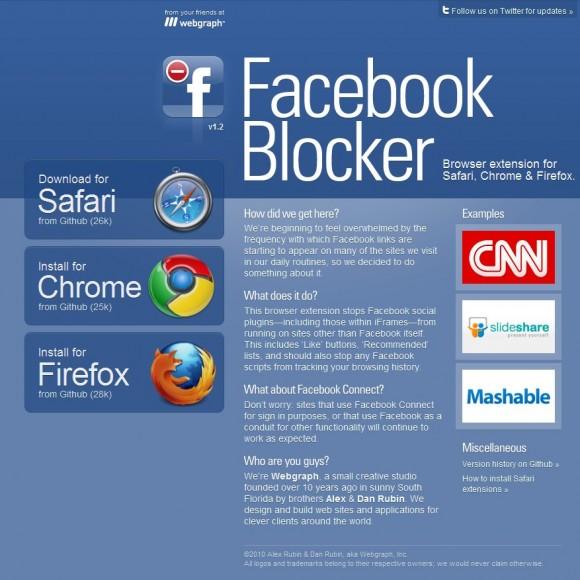 Una extensión para bloquear los plugins de Facebook