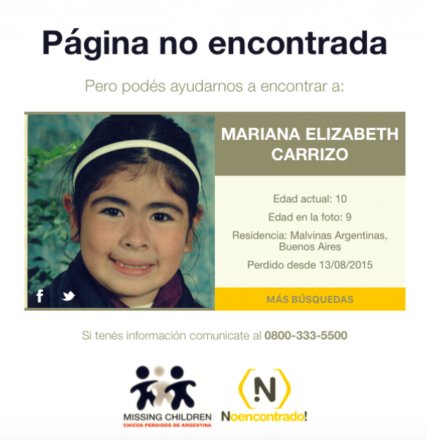 utilizar los errores 404 para encontrar niños perdidos