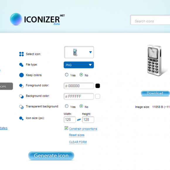 Iconos gratis con Iconizer