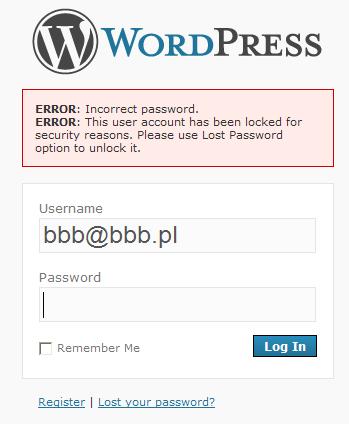 Como configurar intentos fallidos en Wordpress con User Locked