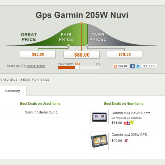 Ejemplo para una búsqueda de precios sobre Gps Garmin 205W Nuvi