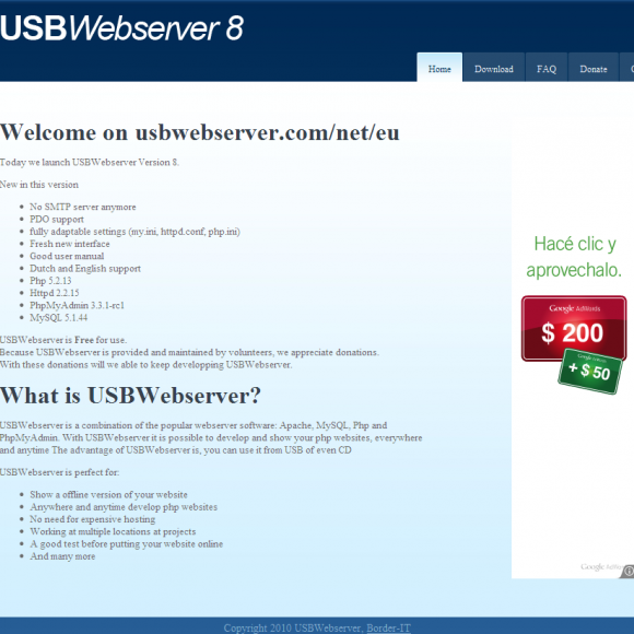 Un servidor portable con USB Webserver