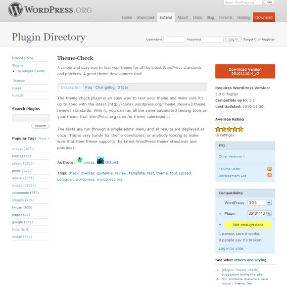 Como comprobar las plantillas de WordPress con Theme-Check