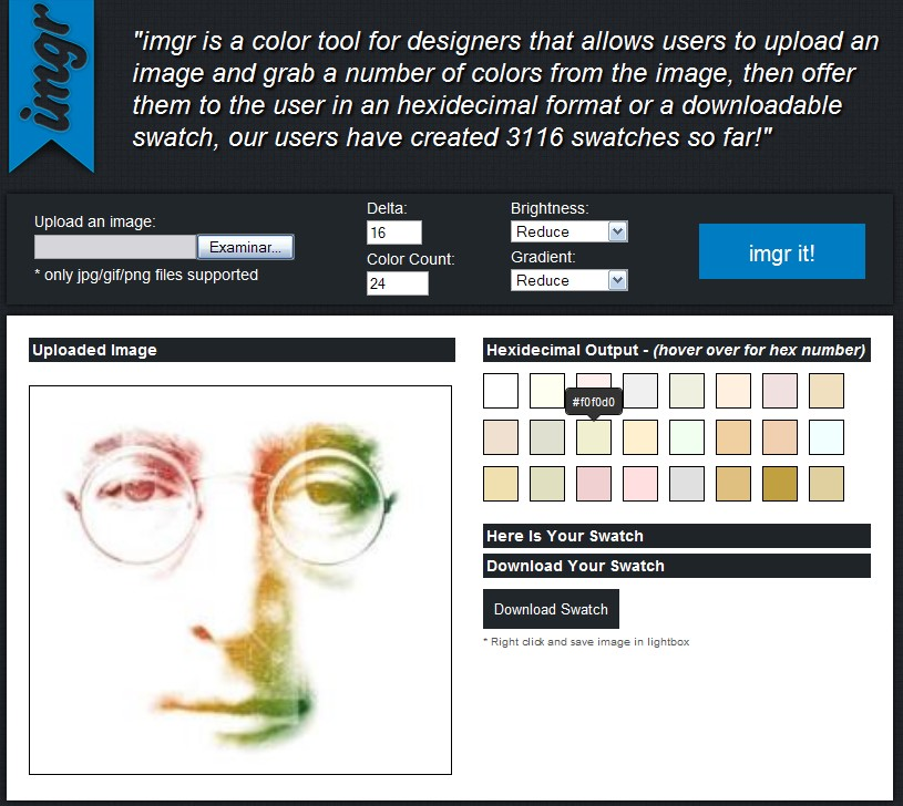 Como extraer colores de una imagen con Imgr