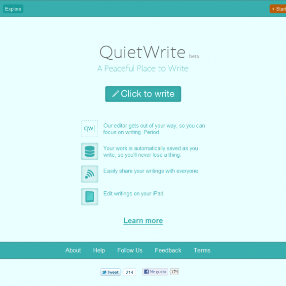 Quiet Write - un procesador de texto online
