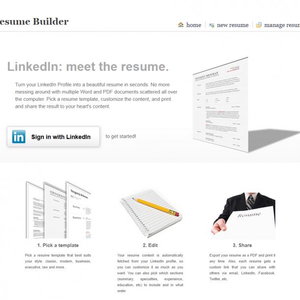 Como resumir tu perfil de LinkedIn con Resume Builder