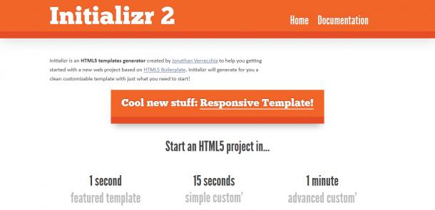 Como generar una plantilla en HTML5 con Initializr