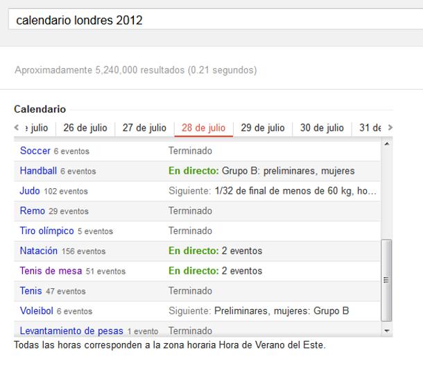 Como seguir los Juegos Olímpicos con Google