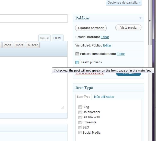 Como evitar publicaciones en el feed RSS