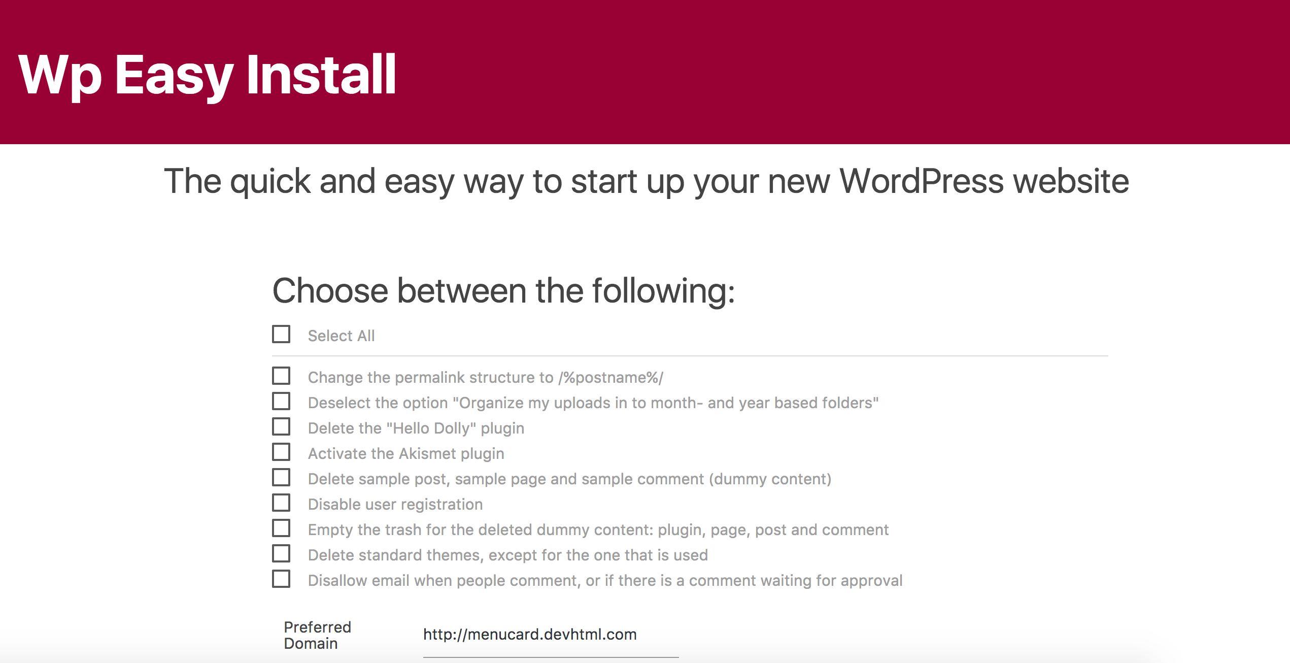 Como completar el proceso de instalación de WordPress con el plugin WP Easy Install